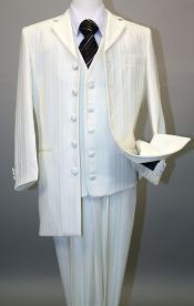 SKU#MU17071 Ivory~OFF White Long Fashion Shiny look Shadow tone on tone Pinstripe Vested Suit