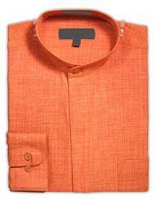 Collar - Mandarin Collar - No Collar Dress Shirt Rust