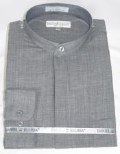 Collar - Mandarin Collar - No Collar Dress Shirt Grey