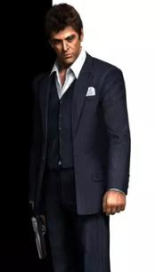 Black One Chest Pocket Scarface Suit