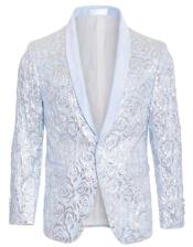 Light Blue Tuxedo - Sky Blue Tuxedo Sequin Blazer - Fashion Dinner