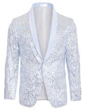 Blue Tuxedo - Sky Blue Tuxedo Sequin Blazer - Fashion Dinner