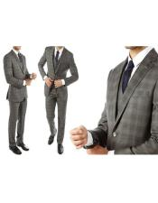Ultra Slim Fit Gray With Tint of Blue Plaid Suit - Grey