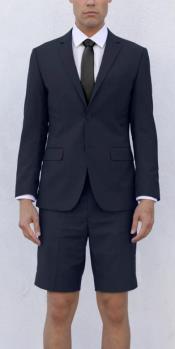 Mens Navy Blue Short Suit