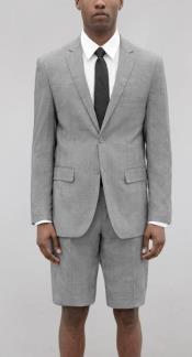Mens Black and White Glen Plaid Short Suit
