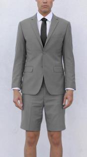 Mens Light Grey Short Suit
