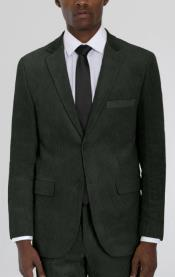 Mens Forest Green Corduroy Two Button Suit