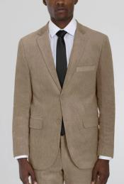 Mens Beige Corduroy Two Button Suit