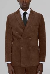 Mens Brown Corduroy Six Button Suit