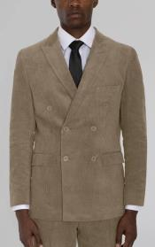 Mens Beige Corduroy Six Button Suit