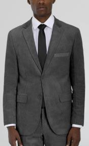 Mens Medium Grey Corduroy Two Button Suit