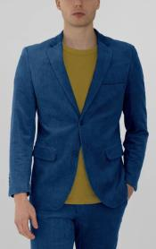 Mens Blue Corduroy Two Button Suit