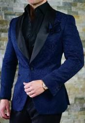 Navy Blue Velvet Blazer - Paisley Blazer - Blue Dinner Jacket -