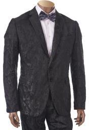 Mens 2 Button  Black Suit
