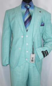 Stacy Adams Mint Green Windowpane Suit Vest Bud Revo 9232