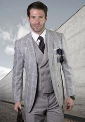 Suit - Windowpane Suit + Wool Suit + Grey