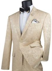 Champagne Suit Mens Beige Paisley Slim Fit Prom Suit