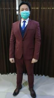 Mens Burgundy Suit + Blue Vest