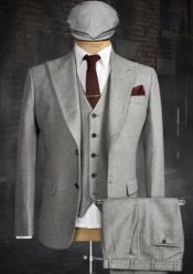 Tweed 3 Piece Suit - Tweed Wedding Suit Peaky Blinders Suit Gray