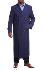 Mens Full Length Overcoat Navy Blue Wool Double Breasted Trench Coat