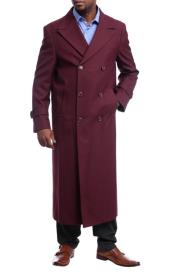 Mens Full Length Overcoat Burgundy Red Wool Double Breasted Trench Coat