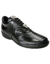 Belvedere Mens Black Ostrich Sneaker