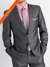 Grey and Pink Suit Including Shirt and Tie