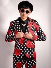 Polka Dot Suit (Jacket + Pants) + Black and White and Red