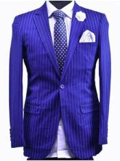 Dark Royal Blue And White Stripe - Indigo Pinstripe Suit - Light