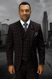 Statement Mens Wool Fashion Suit - Plaid Windowpane Modern Fit Brown