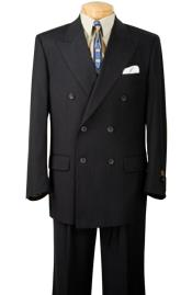 Double Breasted Dark Navy Blue Thin Small Pinstripe Mens Suit Side