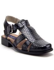 Mens Black Python Snake Rubber Sole Dress Sandals