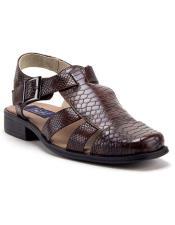 Mens Brown Python Snake Rubber Sole Dress Sandals