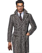 Tweed Overcoat - Herringbone Overcoat - Black and White Topcoat