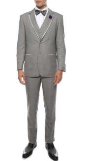 "Tuxedo - Wedding Tuxedo ""Celio"" Grey 3-Piece Slim Fit Notch Lapel"
