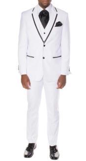 """Tuxedo - Wedding Tuxedo """"Celio"""" White and Black 3-Piece Slim Fit"""