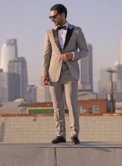 "Tuxedo - Wedding Tuxedo ""Luna"" Grey 3-Piece Slim Fit Peak Lapel"