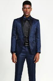 Velvet Suits Paisley Suit - Midnight Blue Velvet Paisley Tuxedo - Navy