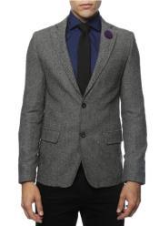 Black and White Tweed Blazer - Gray Herringbone Sport Coat - Slim