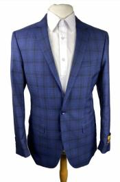 Mens Slim Fit Wool Blazer - Plaid Sport Coat - Blue Blazer