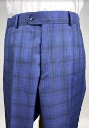 Plaid Flat Front Pants - Windowpane Dress Pants - Blue Color