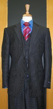 SKU#CH339 Two Button Three Piece Navy Pinstripe Flat Front three piece suit