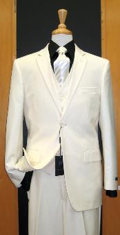 SKU#DP244 Two Button Three Piece Off White Tapered Cut three piece suit