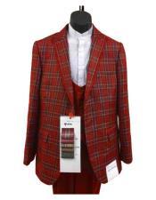 Red Windowpane Suit