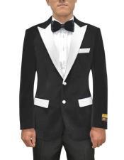 Black and White Lapel Velvet Blazer