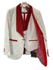 White and Burgundy Tuxedo - White and Red Tux - Vested Suit