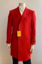 Overcoat - Peak Lapel 1920s Style - Wool and Cashmere Car Coat Three Quarter By Albereto Nardon
