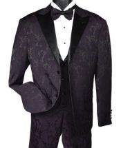 Mens Two Button Paisley Fashion Tuxedo Dark Purple Vest Bow Tie