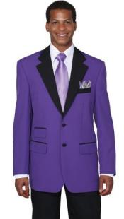 Two Button Colorful Tuxedo Purple Jacket