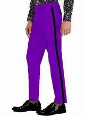 Pants - Flat Front Pants Purple